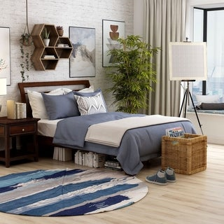 Furniture of America Hasa Transitional Solid Wood Slatted Platform Bed