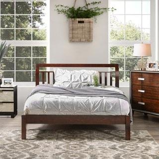 Furniture of America Hasa Transitional Solid Wood Slatted Platform Bed