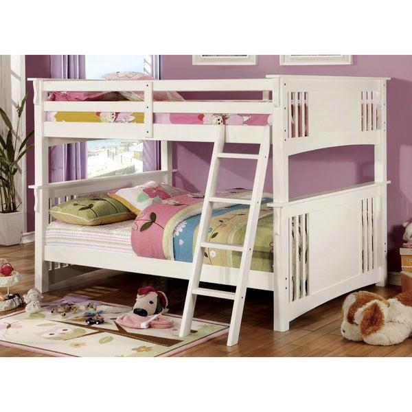Furniture of America Daan Transitional Full/Full Solid Wood Bunk Bed