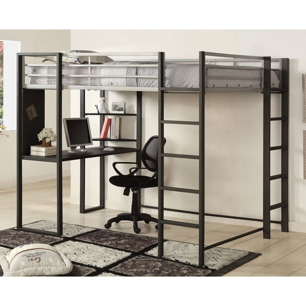 Furniture of America Boor Modern Black Metal Loft Bed with Workstation