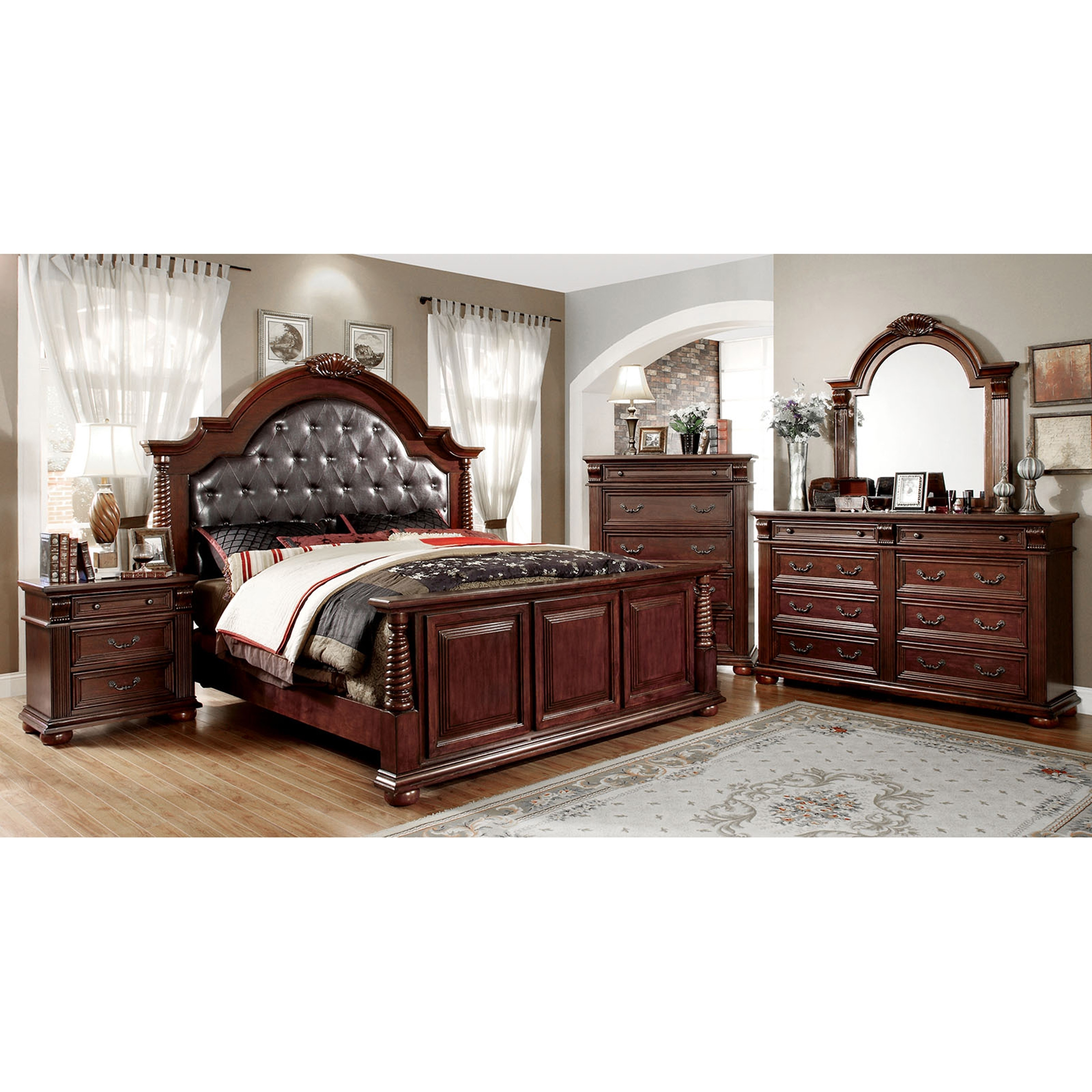 Angelica Traditional Brown Cherry 4-Piece Bedroom Set by FOA