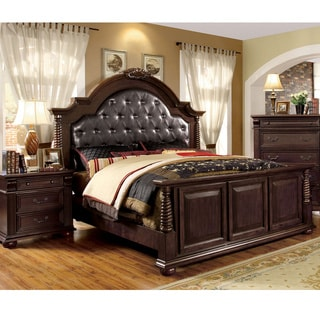 furniture of america angelica english style brown cherry 3piece bedroom set option
