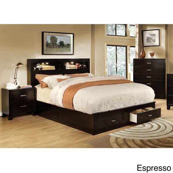 furniture of america clement 2 piece storage platform bed with nightstand set free shipping. Black Bedroom Furniture Sets. Home Design Ideas