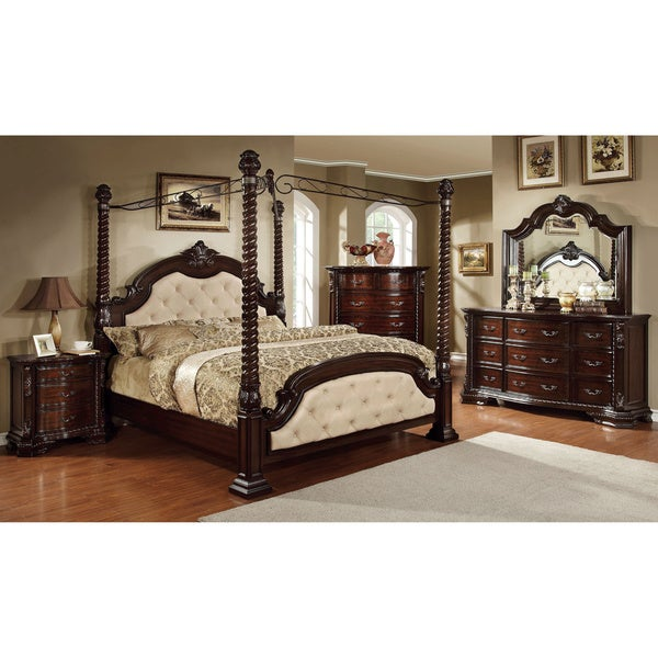 Furniture of America Kassania Luxury 4-piece Poster Canopy Bedroom Set  sc 1 st  Overstock.com & Furniture of America Kassania Luxury 4-piece Poster Canopy Bedroom ...