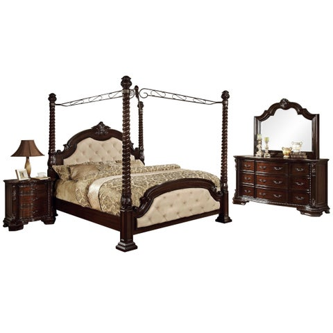 Furniture of America Kassania Luxury 4-piece Poster Canopy Bedroom Set