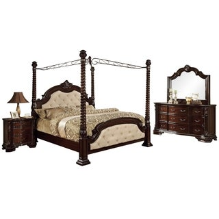 Furniture Of America Kassania Luxury 4 Piece Poster Canopy Bedroom Set