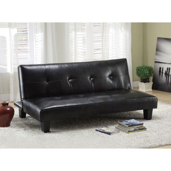 Shop Furniture Of America Vereno Tufted Black Leatherette