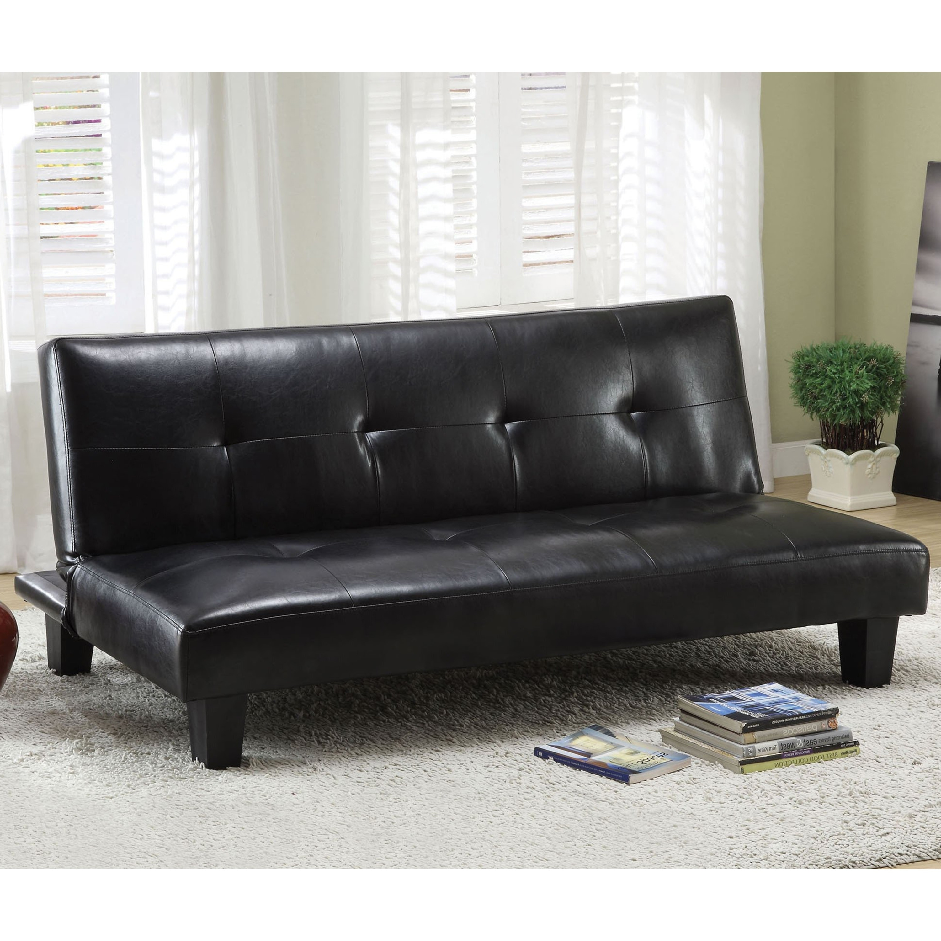 Fabulous Vereno Contemporary Tufted Black Leatherette Futon Sofa By Foa Alphanode Cool Chair Designs And Ideas Alphanodeonline
