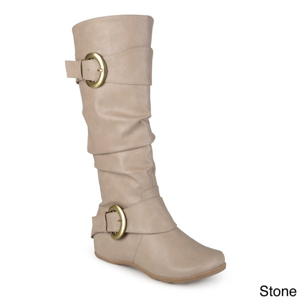 Wide Calf Slouch Buckle Boot