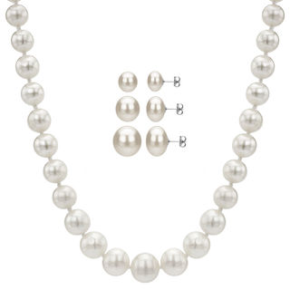 DaVonna Sterling Silver White Cultured Graduated Pearl Jewelry Set (4-8 mm)
