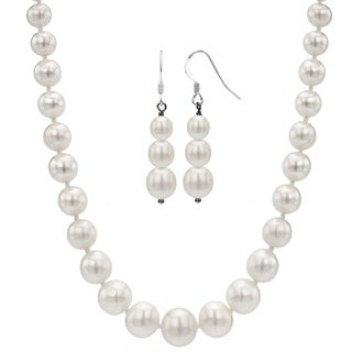 DaVonna Sterling Silver White Graduated Pearl Jewelry Set (4-8 mm)