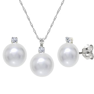 DaVonna Sterling Silver White Freshwater Pearl and Cubic Zirconia Jewelry Set (7-8 mm)