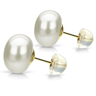 DaVonna 24k Gold over Sterling White Cultured Pearl Stud Earring (10-11 mm)