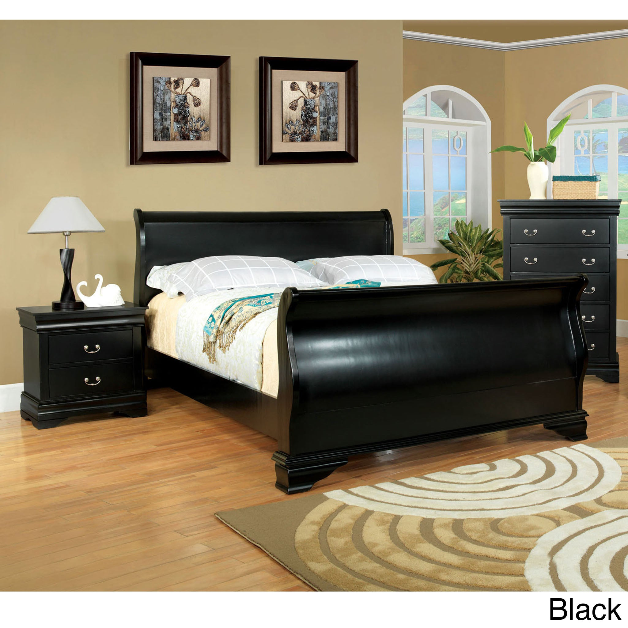 Furniture of America Bravo Smooth Transitional Sleigh Bed...