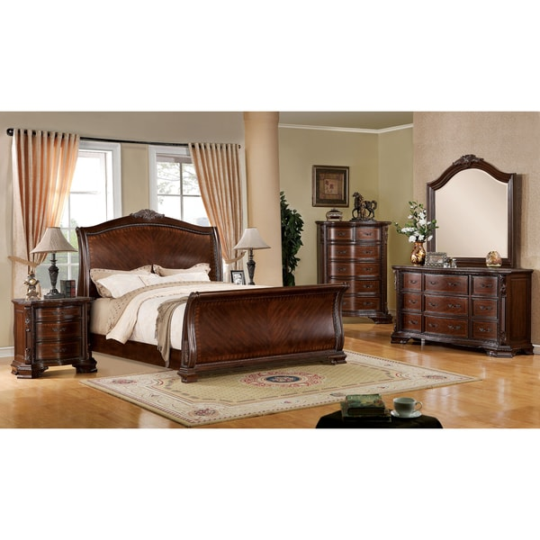 Furniture Of America Eliandre Baroque Style 4 Piece Sleigh