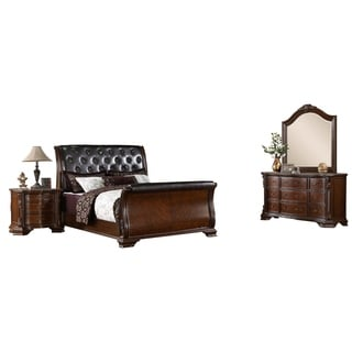Furniture of America Luxury Brown Cherry Baroque Style 4-Piece Bedroom Set