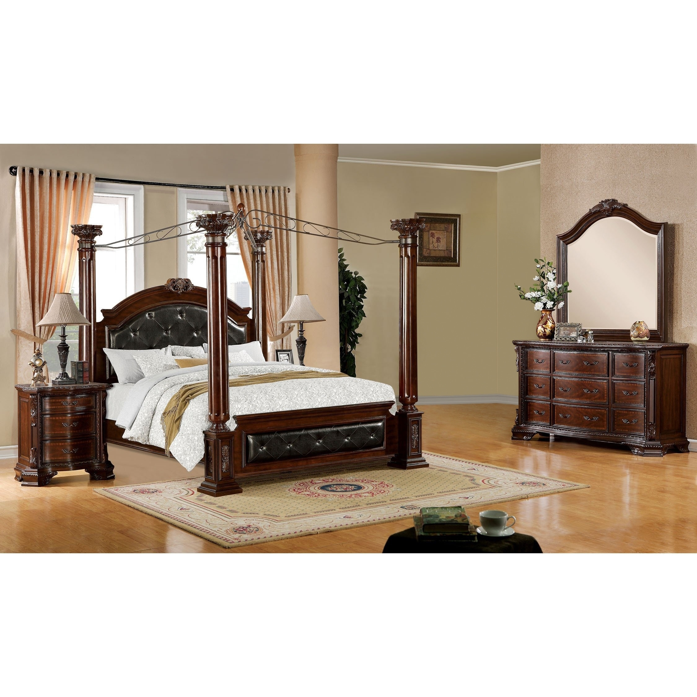 Shop Furniture Of America Cane Traditional Cherry 4 Piece Canopy Bedroom Set On Sale Overstock 9260266