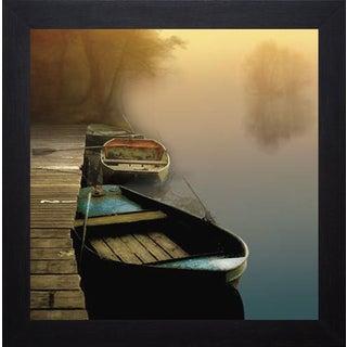 Steven Mitchell 'Misty Boats' Framed Artwork