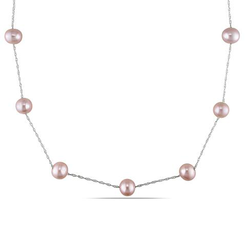 Miadora 10k White Gold Pink Cultured Freshwater Pearl Tin Cup Necklace (7.5-8 MM)