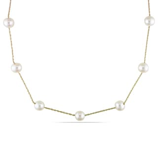 Miadora 10k Yellow Gold White Cultured Freshwater Pearl Tin Cup Necklace (7-8 mm)