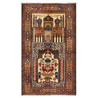 Herat Oriental Semi-antique Afghan Hand-knotted Tribal Balouchi Ivory/ Navy Wool Rug (2'9 x 4'11)