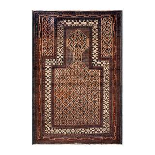 Herat Oriental Afghan Hand-knotted 1950s Semi-antique Tribal Balouchi Wool Rug (3' x 4'5)