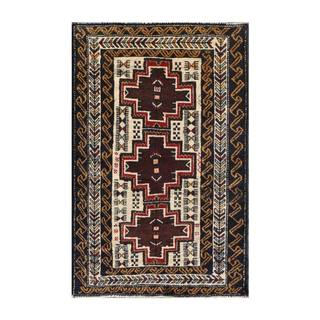 Herat Oriental Afghan Hand-knotted 1960s Semi-antique Tribal Balouchi Wool Rug (2'6 x 3'11)