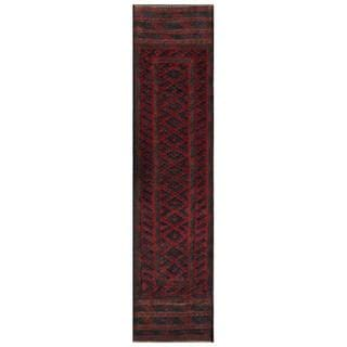 Herat Oriental Afghan Hand-knotted 1950s Semi-antique Tribal Balouchi Wool Runner (1'10 x 8'4)