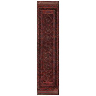 Herat Oriental Afghan Hand-knotted 1950s Semi-antique Tribal Balouchi Wool Rug (2' x 8'8)
