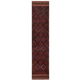 Herat Oriental Afghan Hand-knotted 1960s Semi-antique Tribal Balouchi Wool Runner (2' x 9'2) - 2' x 9'2