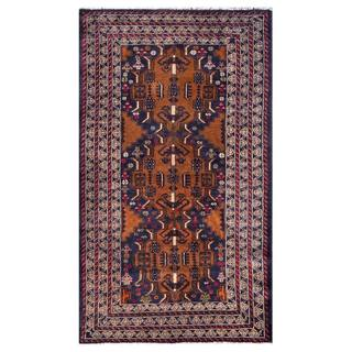 Herat Oriental Afghan Hand-knotted 1950s Semi-antique Tribal Balouchi Wool Rug (3'8 x 6'2)