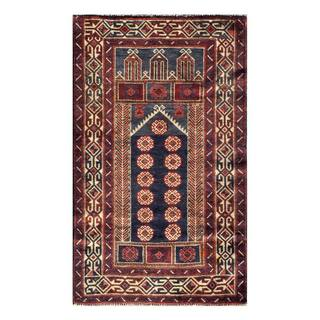Herat Oriental Semi-antique Afghan Hand-knotted Tribal Balouchi Navy/ Ivory Wool Rug (2'8 x 4'5)