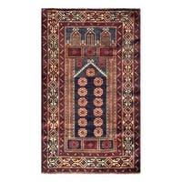 Handmade Herat Oriental Afghan Tribal 1960s Semi-antique Balouchi Wool Rug  - 2'8 x 4'5 (Afghanistan)