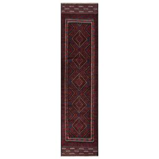 Herat Oriental Afghan Hand-knotted 1960s Semi-antique Tribal Balouchi Wool Runner (2' x 8'7)