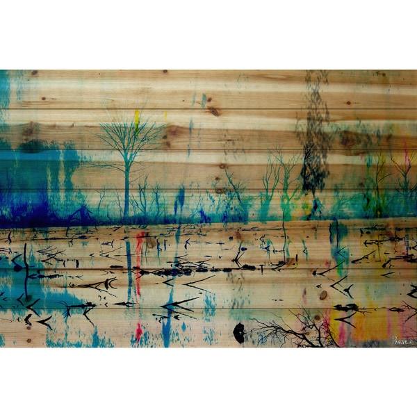Parvez Taj 'Morrison Lake' Painting Print on Natural Pine Wood