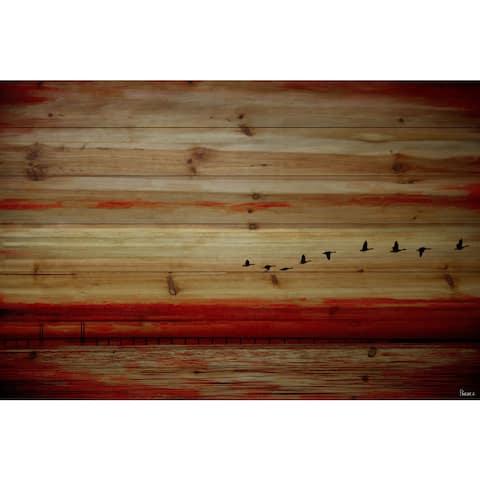 Handmade Parvez Taj - Flying South Print on Natural Pine Wood