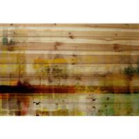Parvez Taj 'Orr Lake' Painting Print on Natural Pine Wood - Multi-color
