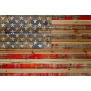 Parvez Taj 'American Dream' Painting Print on Natural Pine Wood
