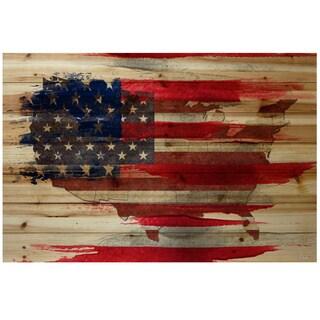 Parvez Taj 'American Map' Distressed Wood Art Print