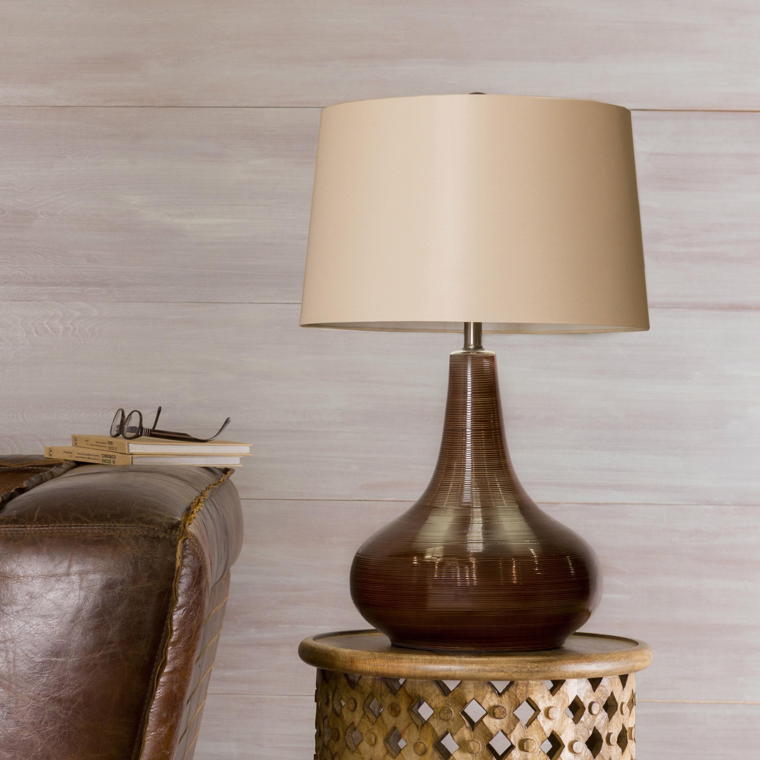 Emi Gourd Ceramic 1-light Chocolate Table Lamp (Chocolate...
