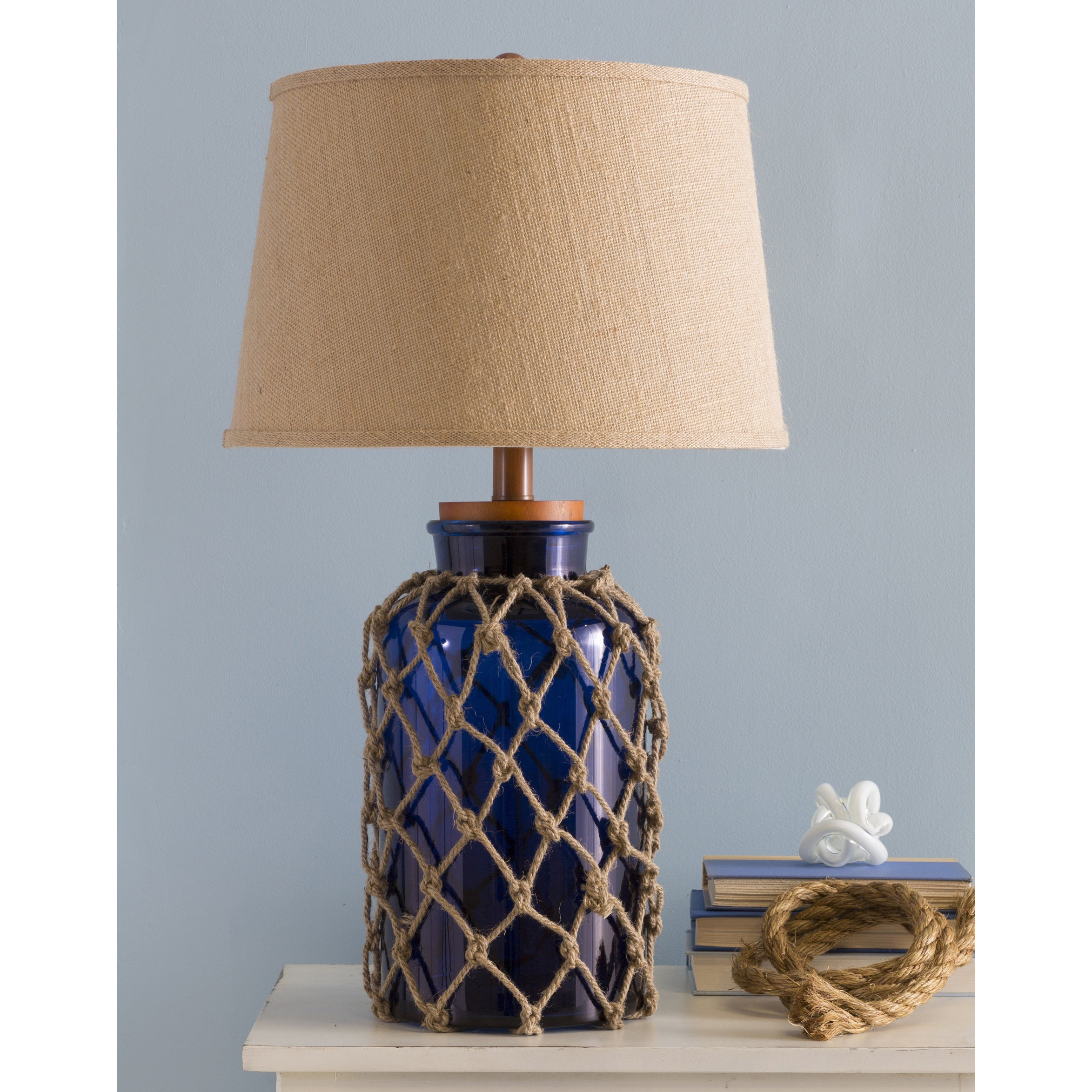 Delicieux Havenside Home Osprey Nautical Glass And Burlap Table Lamp