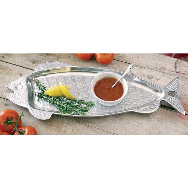 Huge 22 inch aluminum fish serving tray free shipping for Fish serving platter