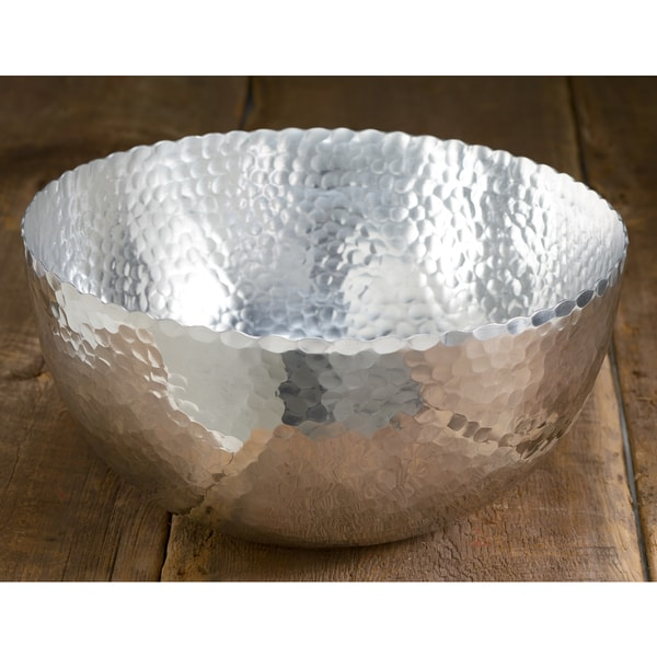 Large 14 Inch Hammered Aluminum Petal Bowl Free Shipping