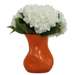 Christopher Knight Home White Hydrangea in Orange Vase