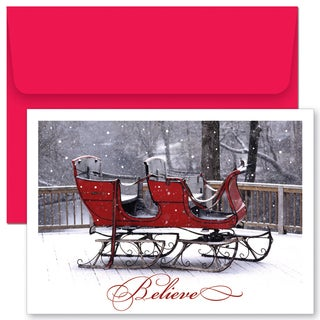 Believe Sleigh Boxed Holiday Cards