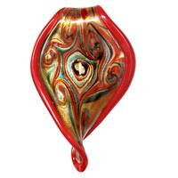 Murano-Inspired Glass Red Twisted Leaf Pendant