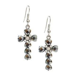 Bleek2Sheek Hematite Grey Crystal and Rhinestone Heart Cross Earrings