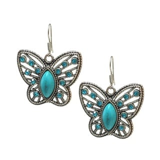 Medium-size Antiqued Faux Turquoise and Rhinestone Butterfly Earrings