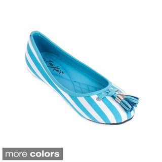 Women's Striped Canvas and Tassel Ballet Flats