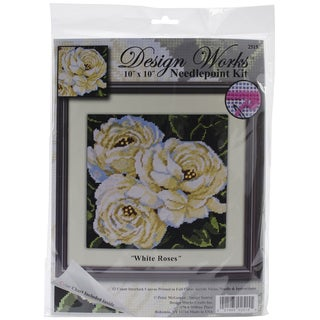 White Roses Needlepoint Kit-10inX10in